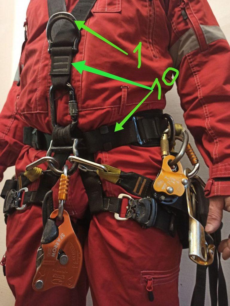 Снаряжение промышленного альпиниста, фото 1. Вид спереди.